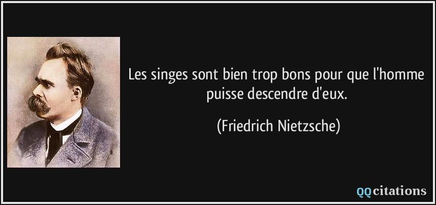 Citaten Nietzsche : Les singes sont bien trop bons pour que l homme puisse